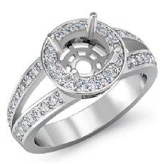 0.55 CT Diamond Engagement Ring Halo Setting Round Cut Semi Mount 14k White Gold