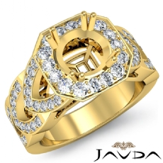 Round Semi Mount Diamond Engagement Ring Halo Pave Setting 18k Gold Yellow  (1.28Ct. tw.)