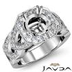 Round Semi Mount Diamond Engagement Ring Halo Pave Setting 14k White Gold 1.28Ct - javda.com