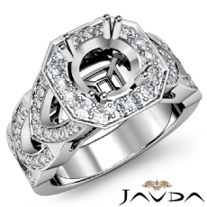 Round Semi Mount Diamond Engagement Ring Halo Pave Setting 18k Gold White  (1.28Ct. tw.)
