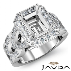 Halo Pave Set Diamond Engagement Ring Emerald Semi Mount 14K White Gold 1.27Ct