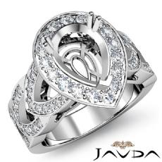 Gorgeous Diamond Engagement Pear Semi Mount Ring Halo Pre-Set 14K W Gold 1.29Ct