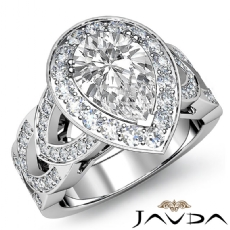 Halo Filigree Sidestone Pear diamond engagement Ring in 14k Gold White