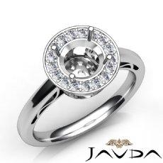 Round Shape Diamond Engagement Ring Halo Setting 14K White Gold SemiMount 0.36Ct