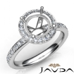 0.6Ct Pave Diamond Vintage Engagement Ring 14k White Gold Halo Setting Semi Mount - javda.com