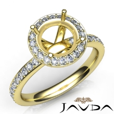 Pave Diamond Vintage Engagement Ring 18k Gold Yellow Halo Setting Semi Mount (0.6Ct. tw.)