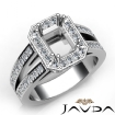 1.53Ct Diamond Engagement Ring Emerald Semi Mount Halo Setting Platinum 950 - javda.com
