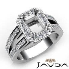 1.53Ct Diamond Engagement Ring Radiant Semi Mount Halo Setting 14k White Gold