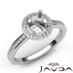 1Ct Halo Pave Setting Diamond Engagement Round Semi Mount Ring 14k White Gold - javda.com
