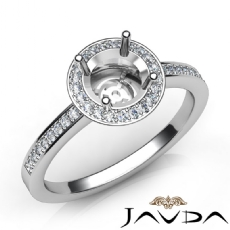 Halo Pave Setting Diamond Engagement Round Semi Mount Ring 18k Gold White (1Ct. tw.)