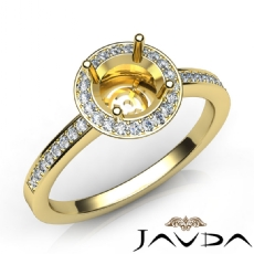 Halo Pave Setting Diamond Engagement Round Semi Mount Ring 14k Gold Yellow (1Ct. tw.)