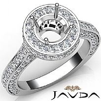 Diamond Engagement Ring Halo Pave Setting 14k White Gold Round Semi Mount 1.60Ct