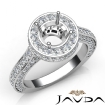Diamond Engagement Ring Halo Pave Setting 14k White Gold Round Semi Mount 1.6Ct - javda.com