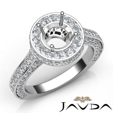 Diamond Engagement Ring Halo Pave Setting 18k Gold White Round Semi Mount  (1.6Ct. tw.)