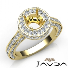 Diamond Engagement Ring Halo Pave Setting 18k Gold Yellow Round Semi Mount  (1.6Ct. tw.)
