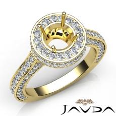 Diamond Engagement Ring Halo Pave Setting 14k Gold Yellow Round Semi Mount  (1.6Ct. tw.)