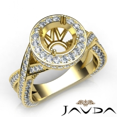 Diamond Engagement Halo Pave Setting Ring Round Semi Mount  18k Gold Yellow (1.5Ct. tw.)