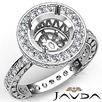 1Ct Diamond Engagement Ring Round Semi Mount 14K White Gold Halo Pave Setting