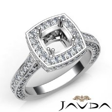 1.6Ct Diamond Engagement Ring Halo Setting 14k White Gold Cushion Semi Mount