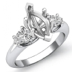 Pear Marquise Semi Mount Diamond Three 3 Stone Engagement Ring 14k White Gold 0.5Ct - javda.com