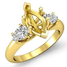 Pear Marquise Semi Mount Diamond Three 3 Stone Engagement Ring 18k Gold Yellow  (0.5Ct. tw.)