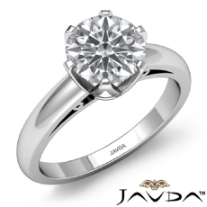 6 Prong Basket Solitaire Round diamond engagement Ring in 14k Gold White