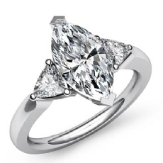Triangle Three Stone Marquise diamond Engagement Ring in 14k Gold White