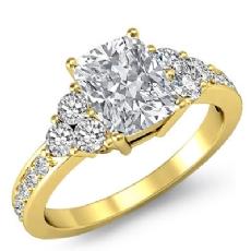 Three Stone Pave Sidestone Cushion diamond engagement Ring in 14k Gold Yellow