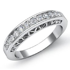 Womens Half Wedding Band Platinum 950 Pave Set Diamond Engagement Ring  (0.25Ct. tw.)