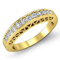 Womens Half Wedding Band 14k Gold Yellow Pave Set Diamond Engagement Ring  (0.25Ct. tw.)
