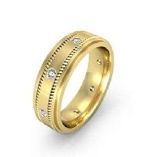 Milgrain Step Edge Diamond Eternity Men's Wedding Band 14k Gold Yellow  (0.15Ct. tw.)
