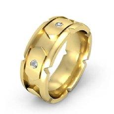 14k Gold Yellow Men's Round Bezel Set Diamond Eternity Wedding Band  (0.4Ct. tw.)