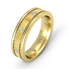 Brushed Bezel Set Men's Diamond Eternity Wedding Band 14k Gold Yellow  (0.16Ct. tw.)