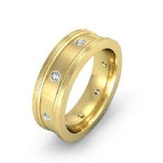 Bezel Diamond Eternity Flat Edges Men's Wedding Band 14k Gold Yellow (0.15Ct. tw.)