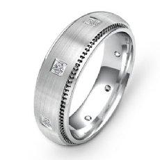 Milgrain Edge Bezel Diamond Eternity Men's Wedding Band 14k White Gold 0.40Ct