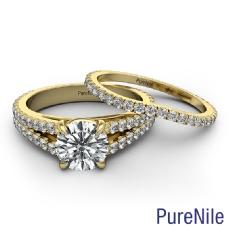 French Split Band Bridal Set Round diamond engagement Ring in 14k Gold Yellow