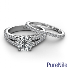 French Split Band Bridal Set Round diamond engagement Ring in 14k Gold White