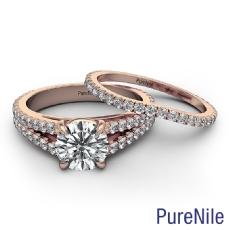Round diamond  Ring in 18k Rose Gold