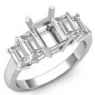 Emerald Cut Five 5 Stone Diamond Engagement Ring 14k White Gold Semi Mount 1.5Ct - javda.com