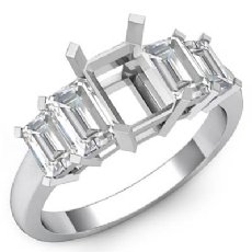 Emerald Cut Five 5 Stone Diamond Engagement Ring 14k White Gold Semi Mount 1.5Ct