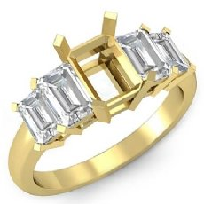 Emerald Cut Five 5 Stone Diamond Engagement Ring 18k Gold Yellow Semi Mount  (1.5Ct. tw.)