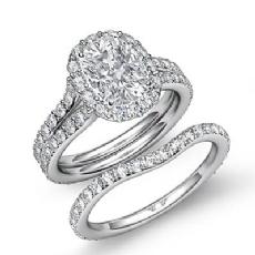 Halo Pave Wedding Set Cushion diamond engagement Ring in 14k Gold White