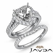 1.8C Heart Halo Diamond Semi Mount Engagement Wedding Ring Bridal Set 14k W Gold