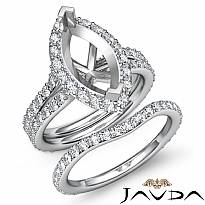 1.90Ct Marquise Diamond Semi Mount Engagement Wedding Ring Bridal Set 14k W Gold