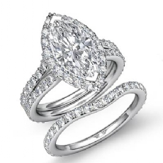 Halo Split Shank Bridal Set Marquise diamond engagement Ring in 14k Gold White
