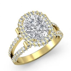 Split-Shank Pave Circa Halo Cushion diamond engagement Ring in 18k Gold Yellow