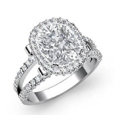 Split-Shank Pave Circa Halo Cushion diamond engagement Ring in 14k Gold White