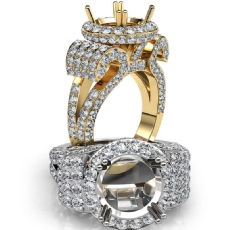 Round Diamond Engagement Ring Antique & Vintage Halo Pave Semi Mount 18k Gold Yellow  (3.5Ct. tw.)