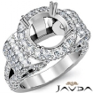 Round Diamond Engagement Ring Antique & Vintage Halo Pave Semi Mount 14k White Gold 3.5Ct - javda.com