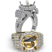 Round Diamond Engagement Ring Antique & Vintage Halo Pave Semi Mount 14k White Gold 3.5Ct - javda.com